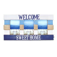 Puzzled Inc Atlantic Welcome Sweet Home Multicolor Wood 4-inch x 6-inch 3-photo Picture Frame