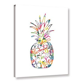 Linda Woods's 'Electric Pineapple' Gallery Wrapped Canvas - Pink