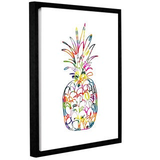 Linda Woods's 'Electric Pineapple' Gallery Wrapped Floater-framed Canvas - Multi