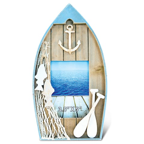 Puzzled Handcrafted Wood 3.5 x 5 Evian Boat Photo Frame