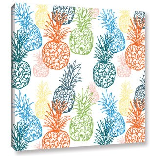 Linda Woods's 'Happy Pineapples' Gallery Wrapped Canvas
