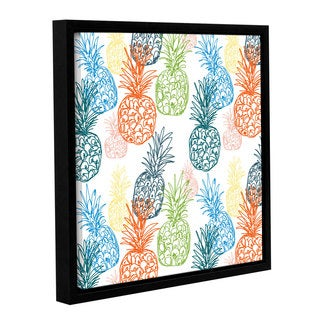 Linda Woods's 'Happy Pineapples' Gallery Wrapped Floater-framed Canvas