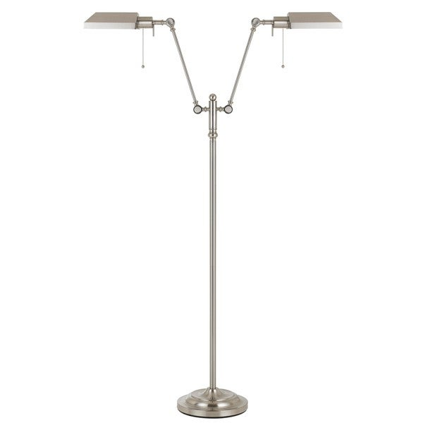 Brushed-steel-finished Metal 100-watt Dual-light Pharmacy Floor Lamp With Metal Shades