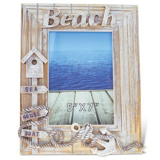 Puzzled Baja Beach Multicolor Wood 5-inch x 7-inch Handcrafted Nautical Photo Frame|https://ak1.ostkcdn.com/images/products/13685108/P20348952.jpg?impolicy=medium
