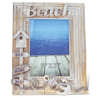 Puzzled Baja Beach Multicolor Wood 5-inch x 7-inch Handcrafted Nautical Photo Frame