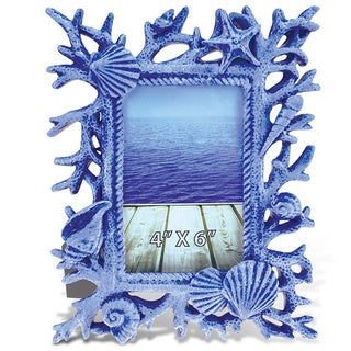 Puzzled Blue Shells and Corals 4-inch x 6-inch Nautical Decor Photo Frame