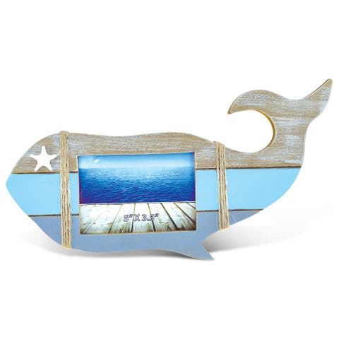 Puzzled Multicolored Wood Whale-shaped Photo Frame Nautical Decor