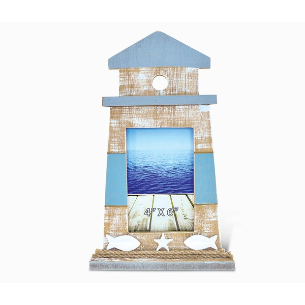 Puzzled Nautica Lighthouse Shape 4-inch x 6-inch Photo Frame