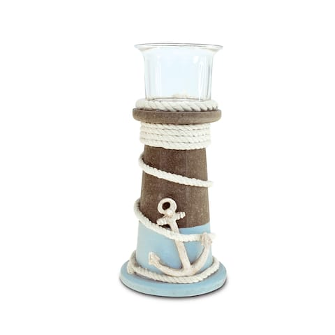 Puzzled Evian Small Candle Holder Multicolor Wooden Handcrafted Nautical Decor