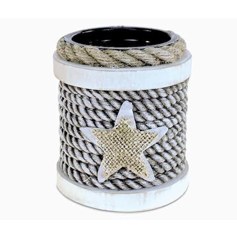 Puzzled Dream Wood/Rope Handcrafted Nautical Candle Holder Decor