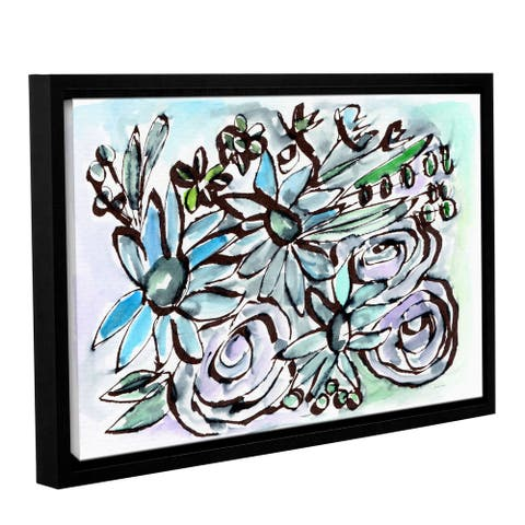 Linda Woods's 'Beach Glass Flowers 2' Gallery Wrapped Floater-framed Canvas
