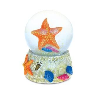Puzzled Orange Starfish Beach Multicolor Resin 65-millimeter Nautical Snow Globe