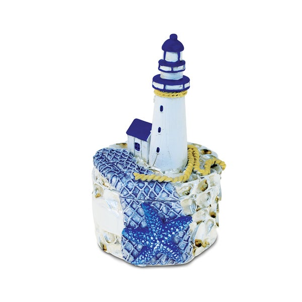 Puzzled Blue Resin Lighthouse and Blue Starfish Nautical Jewelry Box