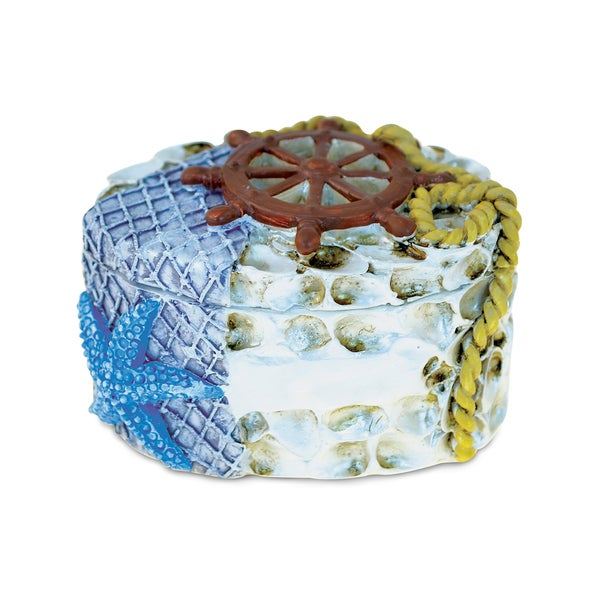 Puzzled Shells with Blue Sea Star Nautical Jewelry Box Free
