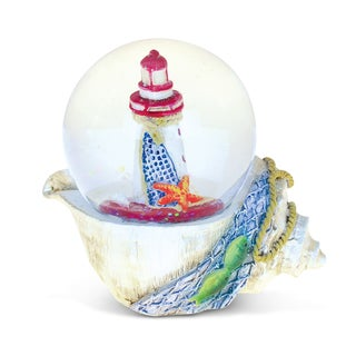 Puzzled Seashell With Lighthouse Resin 65mm Nautical Snow Globe