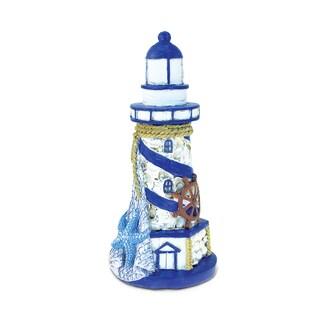 Blue/White Resin Lighthouse Nautical-themed Home Decor