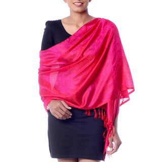 Handcrafted Varanasi Silk 'Banaras Rose' Shawl (India)