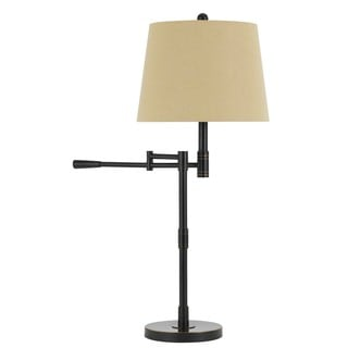 Monticello Oil-rubbed Bronze Finish Metal Swing Arm Table/Desk Lamp with Burlap Shade