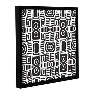 Linda Woods's 'Black and white Boho 2' Gallery Wrapped Floater-framed Canvas