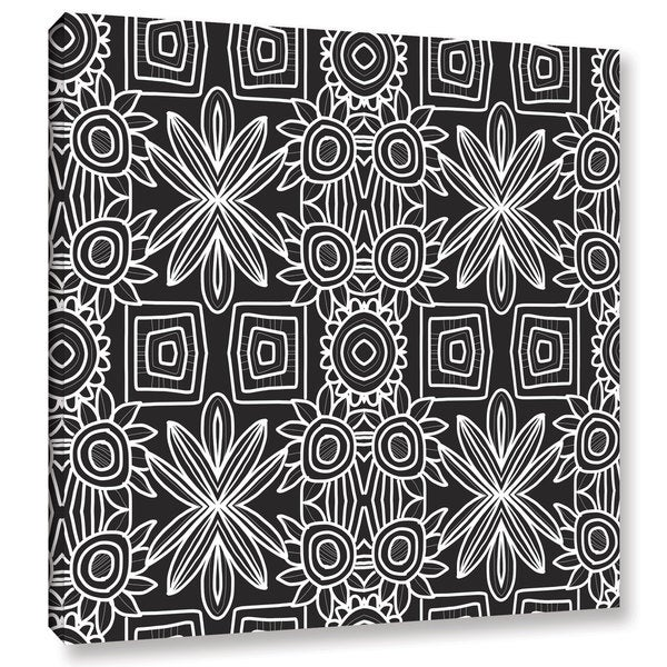 Linda Woods's 'Black and white Boho Floral 1' Gallery Wrapped Canvas