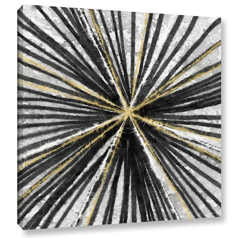 Linda Woods's 'Black and Gold Spinning' Gallery Wrapped Canvas
