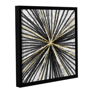 Linda Woods's 'Black and Gold Spinning' Gallery Wrapped Floater-framed Canvas