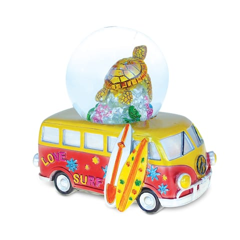Puzzled Multicolored Resin 'Van with Sea Turtle' Nautical Snow Globes