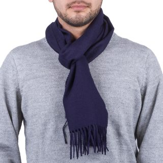 Men's Handcrafted Alpaca 'Midnight Blue' Scarf (Peru)