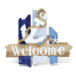 Puzzled Atlantic Anchor Welcome Sign Handcrafted Wooden Nautical Decor