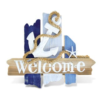 Puzzled Atlantic Anchor Welcome Sign Handcrafted Wooden Nautical Decor|https://ak1.ostkcdn.com/images/products/13685231/P20349005.jpg?impolicy=medium