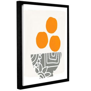 Linda Woods's 'Bowl of Oranges' Gallery Wrapped Floater-framed Canvas - Multi