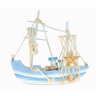 Puzzled Blue Mist Multicolor Wood Handcrafted Nautical Sailboat