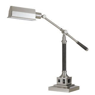 Angelton Brushed Steel/Wood Finish Metal Desk Lamp