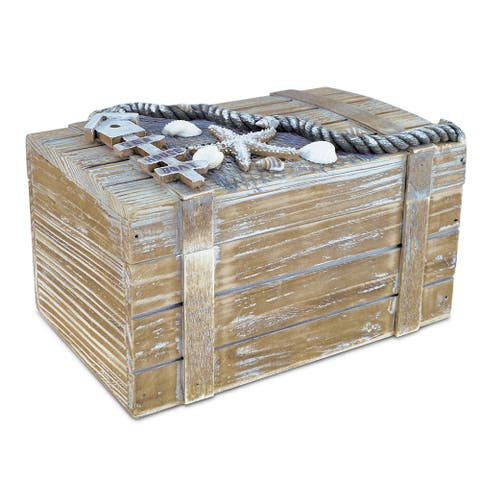 Puzzled Baja Large Jewelry Box Multicolor Wooden Handcrafted Nautical Decor