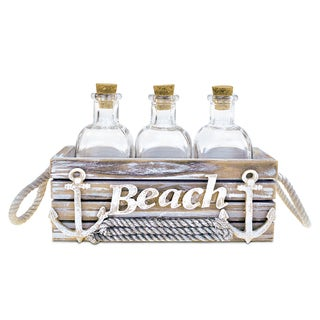 Puzzled Baja Beach Vintage Carrier With 3 Bottles Nautical Decor