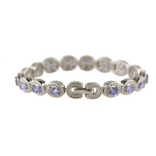 Sterling Silver 5.96ct TGW Tanzanite and White Zircon Tennis Bracelet