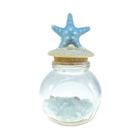 Turquoise Crystal Starfish Shell Nautical Decor Bottle