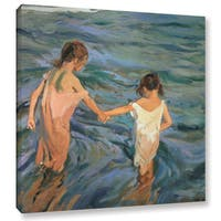 Joaquin Sorolla y Bastida's 'Children In The Sea, 1909' Gallery Wrapped Canvas - Multi
