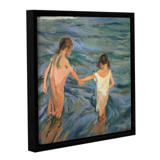Joaquin Sorolla y Bastida's 'Children In The Sea, 1909' Gallery Wrapped Floater-framed Canvas