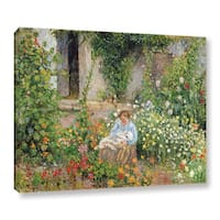 Camille Pissarro's 'Mom and Child In The Flowers, 1879' Gallery Wrapped Canvas