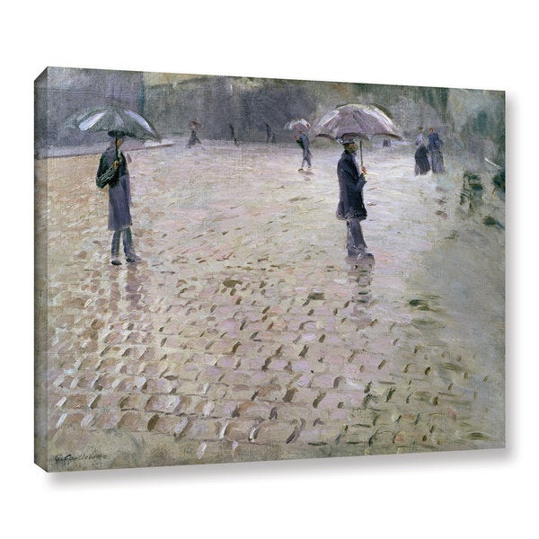 Gustave Cailebotte's 'Study For A Paris Street, Rainy Day, 1877' Gallery Wrapped Canvas