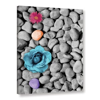 Chandler CChase's 'Flowers On Rock' Gallery Wrapped Canvas