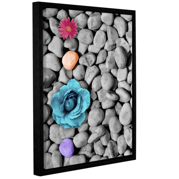 Chandler CChase's 'Flowers On Rock' Gallery Wrapped Floater-framed Canvas - Multi