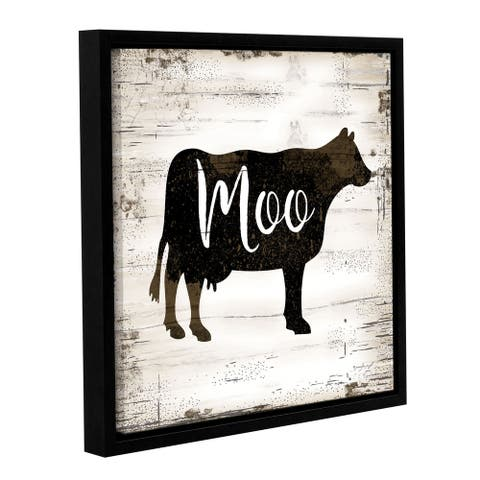 Jennifer Pugh's 'Farmhouse Cow' Gallery Wrapped Floater-framed Canvas - multi