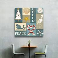 Jennifer Pugh's 'Coastal Christmas Collage II' Gallery Wrapped Canvas - Multi