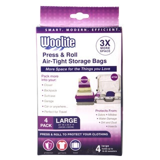 Simplify Woolite's White Nylon Air-tight Hand Roll 4-piece Vacuum Storage Bags