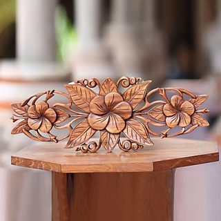 Handcrafted Suar Wood 'Three Plumeria Blossoms' Wall Relief Panel (Indonesia)