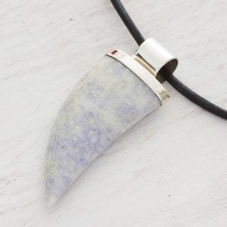 Men's Handcrafted Sterling Silver Leather 'Wide Jaguar Fang' Lilac Jade Necklace (Guatemala)