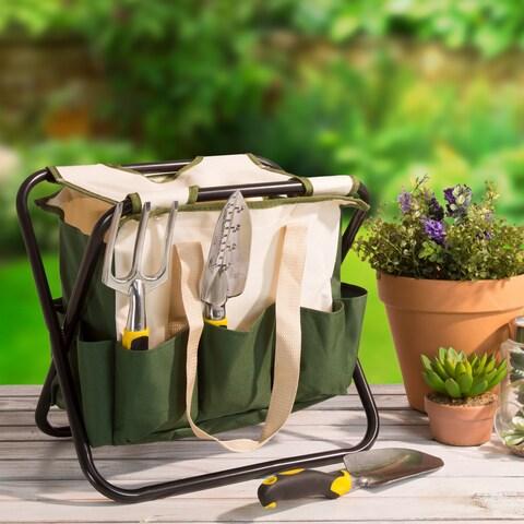 Pure Garden Folding Garden Stool with Tool Bag - 9 Storage Pockets