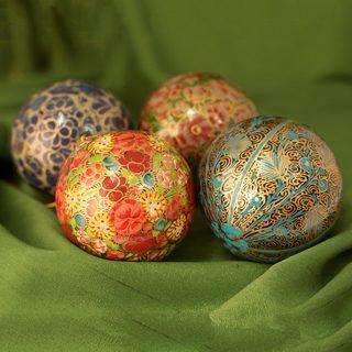 Set of 4 Handmade Papier Mache 'Mughal Celebration' Ornaments (India)